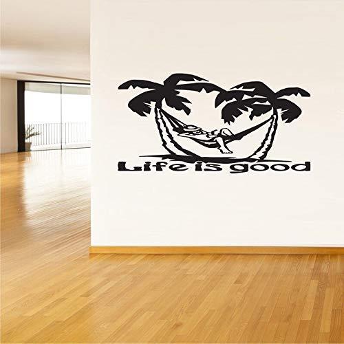 Het leven is goed citaat palmbomen behang verwijderbare muur Stickers voor woonkamer huisdecoratie Vinyl muurstickers Sticker 78 * 42cm