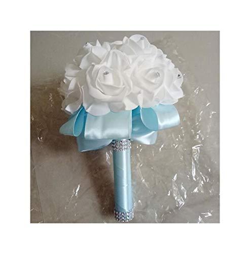 Misscany Pe Rose Bridesmaid Wedding Foam Flowers Rose Bridal Bouquet Ribbon Fake Wedding Bouquet 9 Color,Light Blue