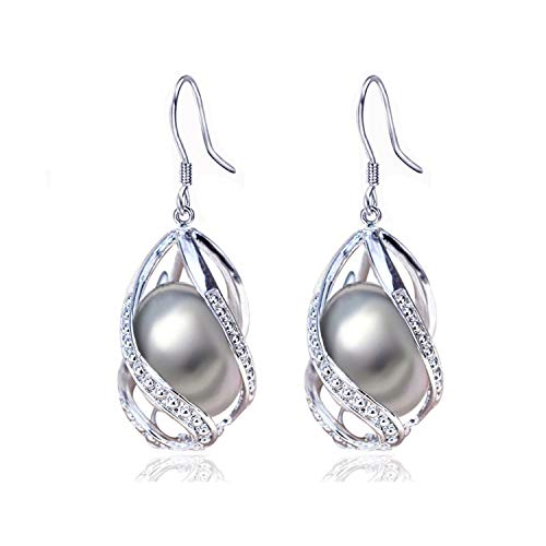 Marcia Abbot(t) Pearl Earrings Water Drop Beads Earring Natural Freshwater Pearl 925 Silver Jewelry For Women Cage,gray