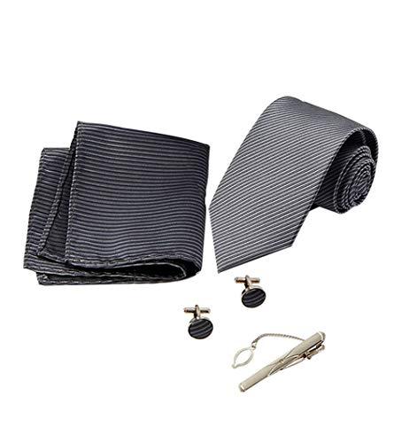 KRUIHAN 4 Pcs Herren Krawatten Set - Twill Krawatte Classic Taschentuch mit Krawattennadel Manschettenknöpfe Anzug Zubehör für Papa, Ehemann, Freund Dunkelgrau