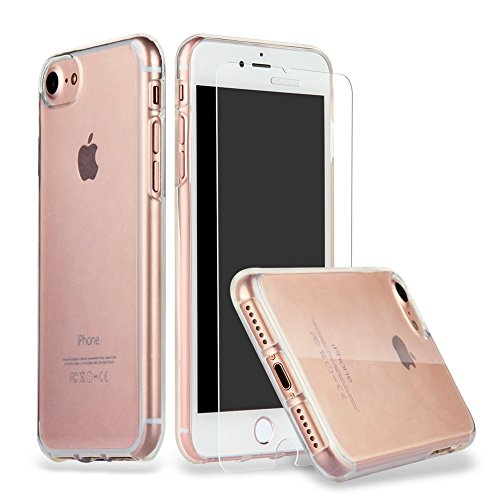 iPhone 8 iPhone 7 Hülle Case + Panzerglas, iPhone 7 Hülle Case Cover Ultra-Transparente felxible TPU Silikon Handyhülle Hülle mit Anti-Rutsch Kratzfest Crystal Hülle-iPhone 7/8 Hülle + Panzerglas …