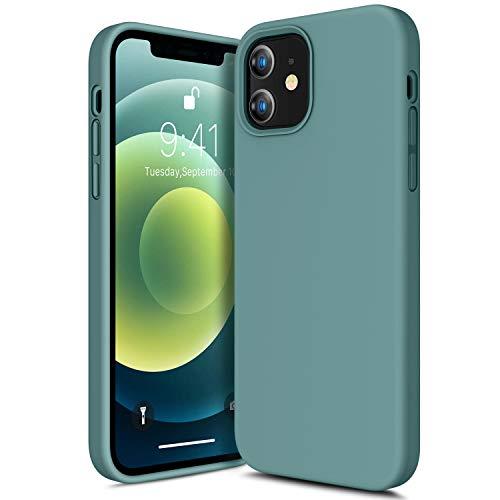 CANSHN Liquid Silikon Hülle Kompatibel mit iPhone 12 Mini 2020, Seidig Weiche Matte Gel Gummi mit Samtiger Microfaserinnenfutter Stoßfest Vollkörperschutz Hülle Handyhülle Schutzhülle - Nachtgrün