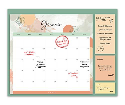 Calendario Famigliare 2021 - Formato Mese, Agenda Famigliare con 3 Foglietti Adesivi - Da Parete o Frigorifero, Organizer per Casa o Cucina - Formato Mese a dicembre 2021, 30x40 cm