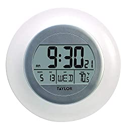Taylor Precision Products RA36213 Taylor Atomic Wall Clock with Thermometer, White