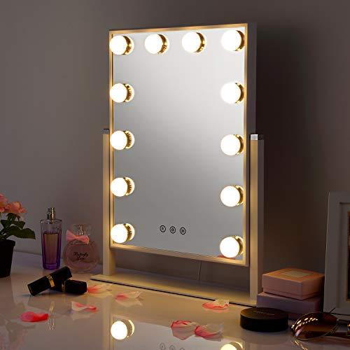 HAMSWAN Hollywood Espejo de Mesa, Espejo de Tocador para Maquillaje con Iluminación...