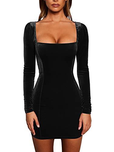 GOBLES Womens Sexy Velvet Long Sleeve Bodycon Elegant Mini Party Dress Black