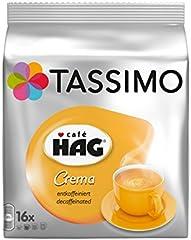 Tassimo Café HAG Crema Decaffeinato Cápsulas de Café - 5 Paquetes (80 Porciones)