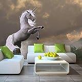 Papel Pintado,Papel Pintado Murales 4D Personalizado,Animal Caballo Unicornio Sofá Tv Fondo La Pintura De La Pared De Seda Wallpapers Hd De Gran Tamaño Póster De Impresión De Arte Imagen De Saló