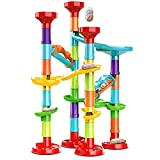7. 50Pcs Marble Run Set Building Blocks with 30 Glass Marbles for Kids Girls Boys Toys Stem Maze Educational Race Game Birthday Gifts (SmallB)