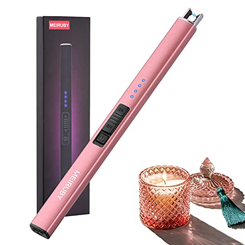 MEIRUBY Lighter Electric Lighter Candle Lighter Rechargeable USB Lighter Arc Lighters for Candle Camping Family Use Rose Gold