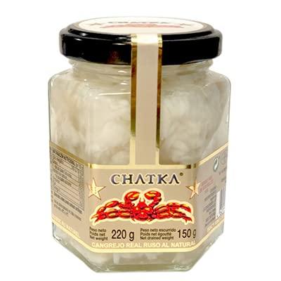 Chatka - Cangrejo Real Ruso al Natural - 100 % Carne de Cangreso - 220 Gramos Bruto - 150 Neto -