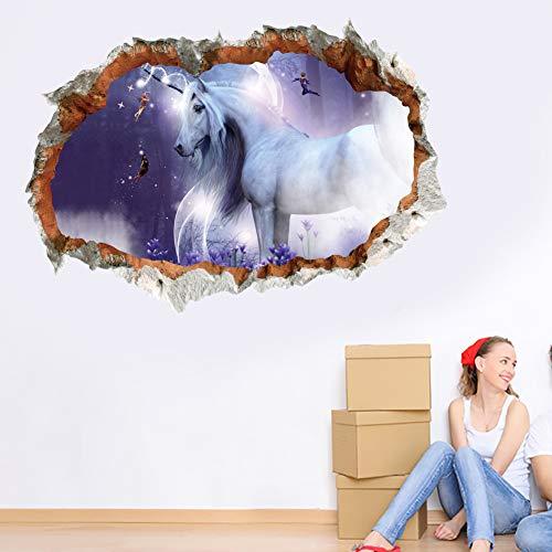 Wajade Adhesivo de pared 3D con unicornios, impermeable, paisaje, agujero para pared, adhesivo para pared, adhesivo para casa, salón, oficina, decoración