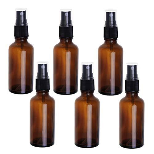 6pcs 30ml vaporisateur de presse bouteille de voyage portable vaporisateur d'huile essentielle bouteille en verre vide (marron)