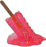 溶けるアイスキャンデーの彫刻、溶けたアイスクリームの装飾品、創造的な溶けるアイスクリームの樹脂の装飾品、夏のクールなロリポップキャンディー彫像工芸品(レインボー) (Pink)