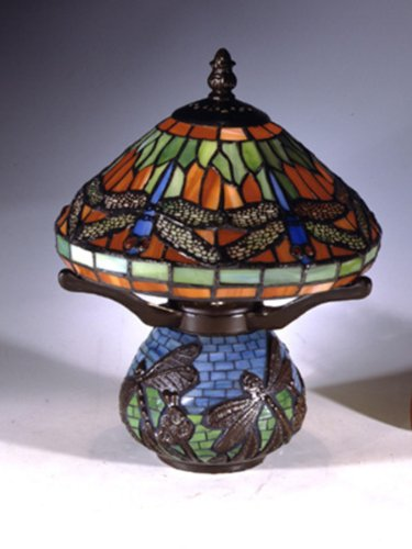 Dale Tiffany 8774 Red Dragonfly Tiffany Accent Lamp, Antique Bronze