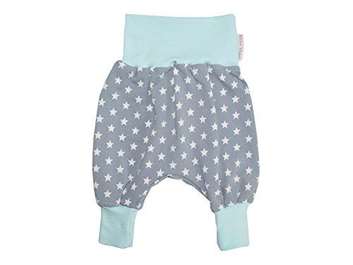 Kleine Könige Pumphose Baby Jungen Hose · Modell Superstar grau/Aqua · Ökotex 100 Zertifiziert · Größen 74/80