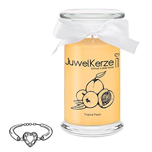 JuwelKerze Tropical Peach - Kerze im Glas mit Schmuck - Große gelbe Duftkerze mit Überraschung als Geschenk für Sie (Silber Armband, Brenndauer: 90-120 Stunden)