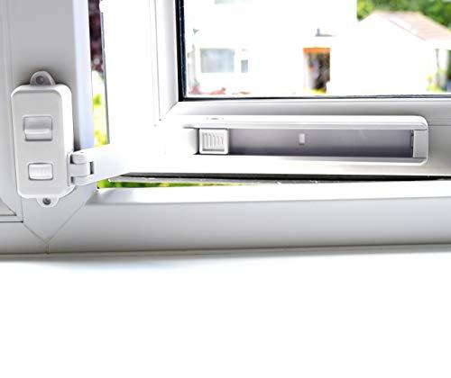 BeeGo - Cerraduras de seguridad infantil para ventanas de UPVC, madera, metal, marcos de ventana de aluminio, autoadhesivas, sin herramientas ni taladros, fácil de instalar blanco blanco