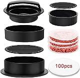 CoiTek Prensa de hamburguesas 3 en 1, para hacer hamburguesas rellenas con papel de 100 p para barbacoa, deslizadores antiadherentes, prensa de hamburguesas de carne de vacuno (negro)