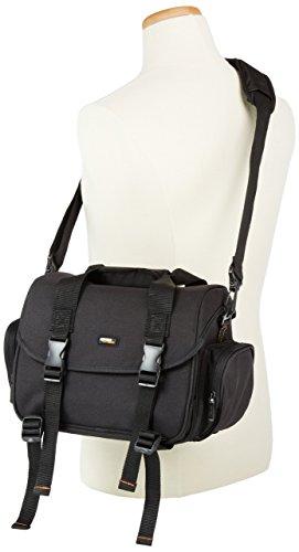 Amazon Basics - Große L Umhängetasche für SLR-Kamera und Zubehör, schwarz mit orange Innenausstattung