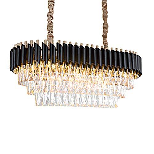 Adjustable Height Ceiling Light Circle Crystal Chandelier Light Fixture Gold Modern Farmhouse Pendant Light Luxury Hanging Dining Room Ceiling Light Fixture For Living Room-Black 75 * 35cm