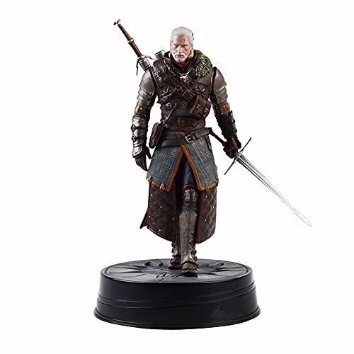 LHAYA The Witcher 3: Wild Hunt Geralt of Rivia Action Figure 24 cm Estatua Animada Modelo de Personaje Adornos Coleccionables Juguete de Escritorio Decoraciones Regalos