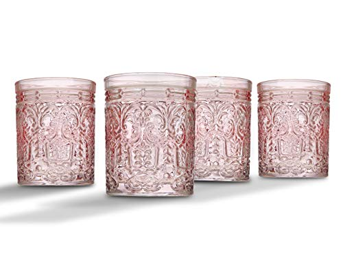 Jax Double Old Fashioned Beverage Glass Cup by Godinger - Pink - Set of 4