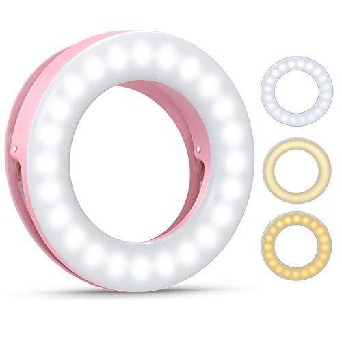 Criacr Selfie Licht, Ringlicht Handy, Selfie Ring Licht, Selfie Licht Handy mit 3 Stuff Helligkeit, USB Wiederaufladbar LED Ringlicht, für Make-up, Selfie, Fotografie, Vlog (Rosa)