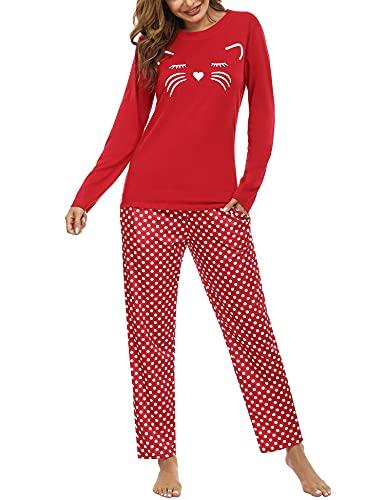 Aibrou Conjunto de Pijamas Mujer, Ropa de Casa Dormir de Manga Larga en Cuello Redondo Pijama Estampado Gato Conjuntos Camiseta y Punto de Onda Pantalon Mujer per Hogar Casual