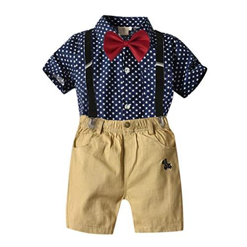 2tlg Kinder Jungen Bekleidung Sommer T-shirt Tops Lange Hosen Shorts Outfits Set