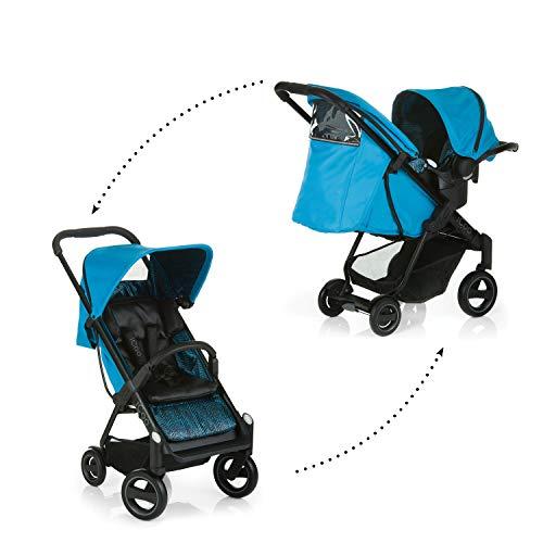 iCOO Acrobat Shop'n Drive - Silla ajustable en altura hasta 18 kg con respaldo reclinable y saco para pies + grupo 0+ para bebés desde el nacimiento, plegable con una mano, luz, reflectores, azul