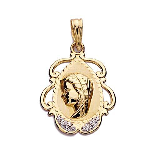 Medalla Oro 9K Virgen Niña 23mm. Cerco Formas Calado Detalle Circonitas - Personalizable - Grabación Incluida En El Precio