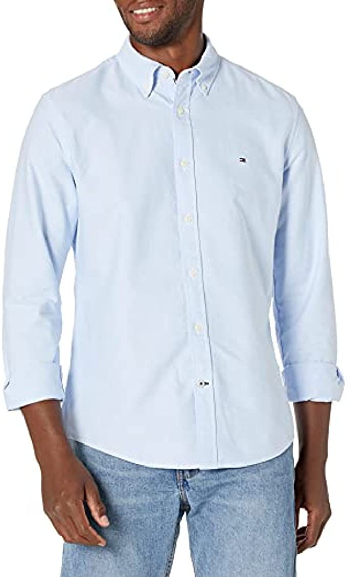 Tommy Hilfiger Men Long Sleeve Solid Oxford Button Down Shirt in Custom Fit
