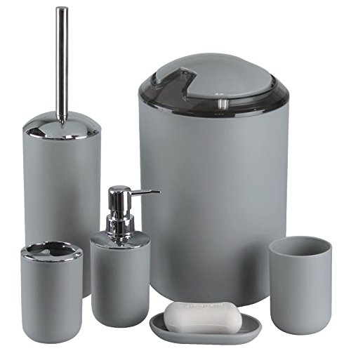 IMAVO Bathroom Accessories Set,6 Pcs Plastic Gift Set Toothbrush Holder,Toothbrush Cup,Soap Dispenser,Soap Dish,Toilet Brush Holder,Trash Can,Tumbler Straw Set Bathroom (Grey)
