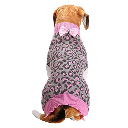 LvRao Natale Animale Domestico Leopardo Vesteiti di Inverno Cane Maglione Maglieria Pullover per Cani Animali (Pink Leopardo, XL)