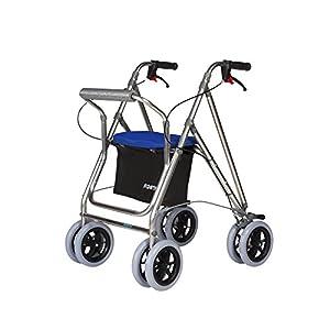 Andador multifunción para ancianos con 4 ruedas, cesta y ...