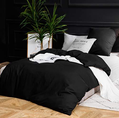 MOHAP Sets de Housse de Couette 140x200cm+1 taie d'oreiller 65x65cm Noir Parure de Lit 1 Personne