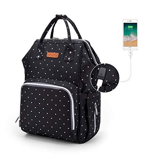 Baby Wickelrucksack, Ramotto Multifunktionale Wasserdichte Wickeltasche mit USB-Kabel Kinderwagen-haken Isolierte Tasche für Unterwegs, Große Kapazität (Schwarz Punkt)