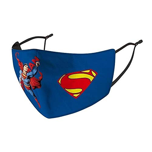 Greensea Superman Superhero Adjustable Kids face Mask, Back to School, Face Cover, Children Mask, Boys, Girls, Unisex + 1 Filter