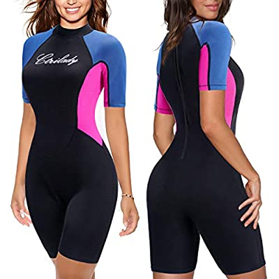CtriLady Wetsuit Shorty Wetsuit for Women 1.5mm Neoprene Short Sleeve Diving Suits with Back Zipper UV Protection Full Body Swimwear for Swimming Diving Surfing Kayaking Snorkeling (Black, Medium)