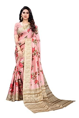 Yashika Women's Khadi Silk Printed Saree With Blouse Piece