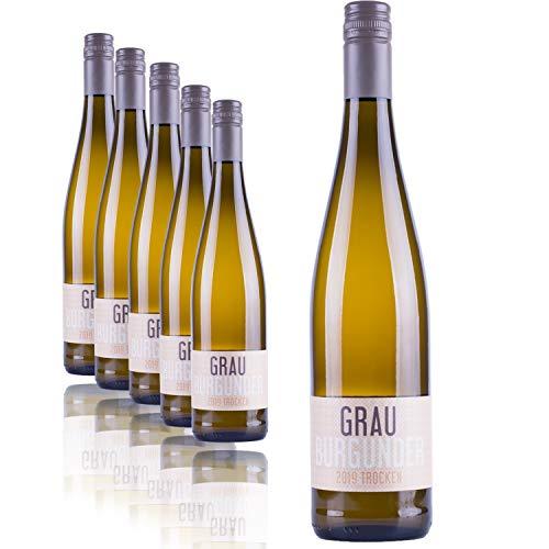 """Nehrbaß - """"Grauburgunder 2018"""" Weißwein trocken 6 x á 0,75 Liter - Qualitätswein - Vegan - Aus Deutschland (Rheinhessen) - Trockener Weiß-Wein mit Schraubverschluss"""