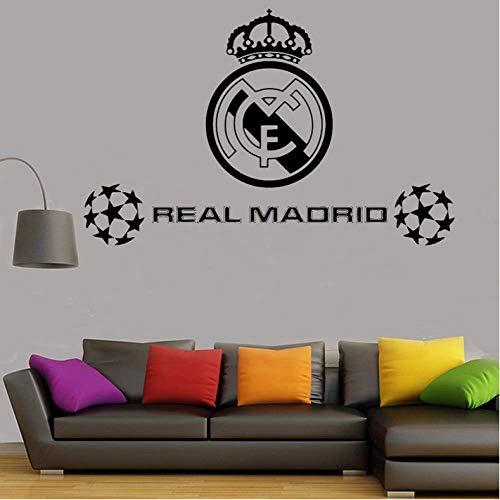 Etiqueta de la Pared 89cm * 57cm Balón de fútbol Club de fútbol Real Madrid Logo Sticker Vinilo Tatuajes de pared para paredes Decoración de la habitación Niños Dormitorio póster mural