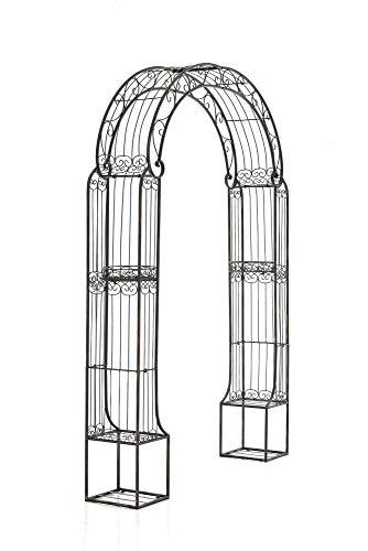 CLP Arche De Jardin en Fer Forgé Alessia I Hauteur du Passage 228 cm Largeur 123 cm I Arceau A Rosiers I Support pour Plantes Grimpantes Bronze