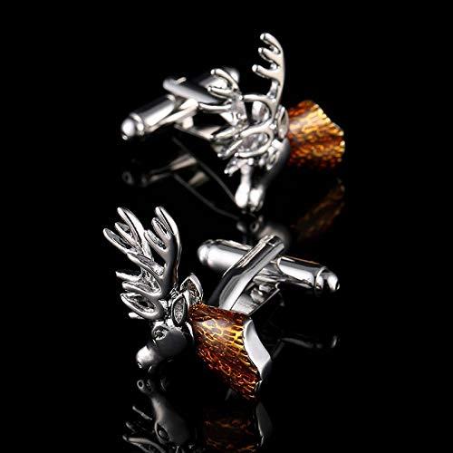 SSHDZS Gemelos Gemelos de Cabeza de Ciervo para Hombres Gemelos de Material de Cobre Botones de puño de joyería Animal Actual con Caja de Regalo