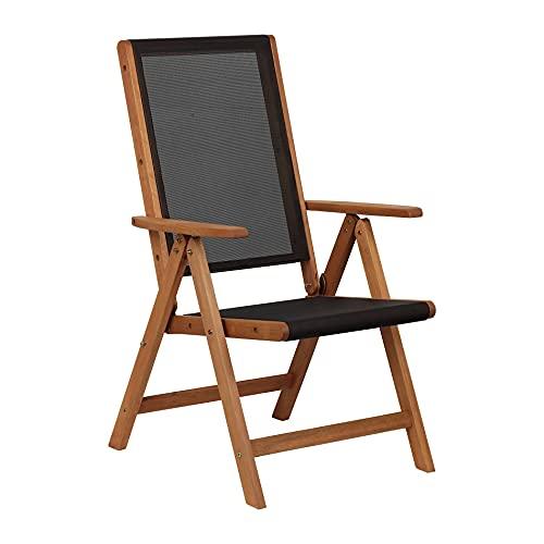 Toto Piccinni Sedia Sdraio JUNEFAIR da giardino reclinabile 7 posizioni in legno di Eucalipto (Textilene)