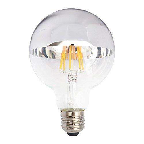 LED Filament Leuchtmittel Globe G95 6W = 60W E27 Kopfspiegel silber 680lm extra warmweiß 2200K Retro Nostalgie