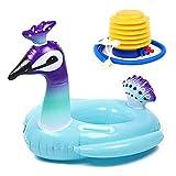 Heiqlay anello da nuoto per bambini, anello di nuoto per neonati, anello di nuoto gonfiabile, sedile galleggiante bimbo, Anello da nuoto per bambini con giocattolo acquatico (squalo/pavone)