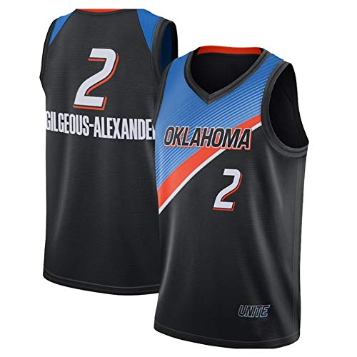 QJV Alexander Swingman Jersey für Männer, 2 OKC Ärmellose Basketball Training Spiel Trikots Mesh Weste Casual Sportswear Mesh Pullover (S-XXL) Black-XXL