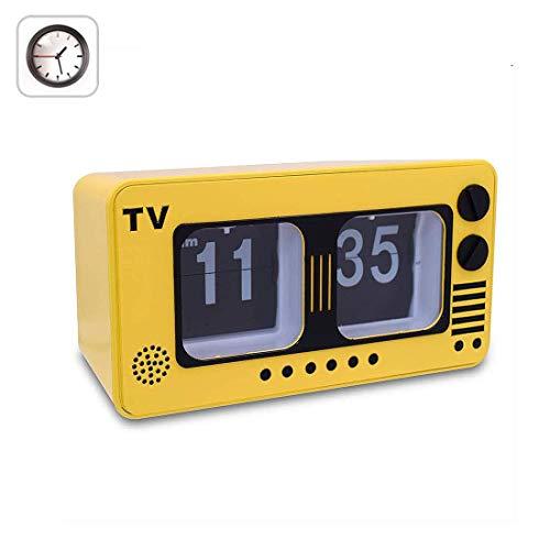 TV Retro Digital Flip Clock -Fernseher Auto Flip Clock, Weinlese-große Zahl Uhr, Digitaluhren für Wohnzimmer Décor,Gelb
